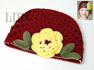H17 new infant toddler baby girl crochet beanie hat