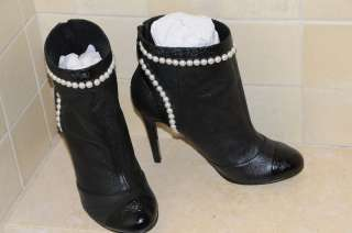 NEW CHANEL BLACK CC LOGO PEARLS BOOTS SHOES 40 10 9.5