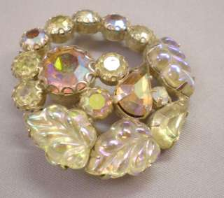 VINTAGE WEISS SIGNED 1950s YELLOW AURORA BOREALIS RHINESTONES BROOCH