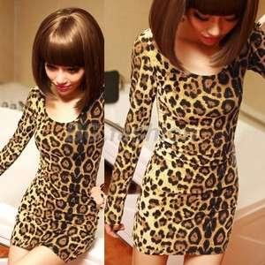 Stylish Long Sleeve Tops Leopard Print Mini Dress Tunic T shirt S M