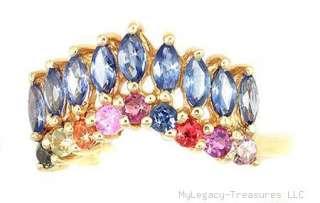 sapphire 10K gold ring blue red pink yellow orange chevron birthstone
