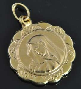 Italian Estate Vtg Itaor 14K Yellow Gold Madonna Religious Medal Charm