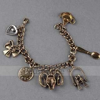 Punk Rock Women Lady Retro Antique Vintage Style Bronze Bracelet mit