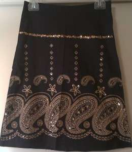 Weather Vane Classic A Line Paisley Sequin Skirt NWT