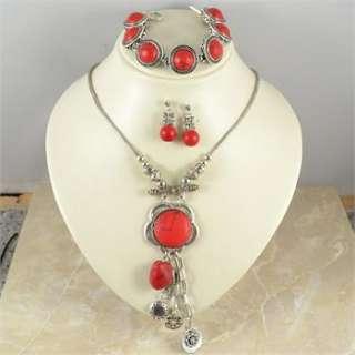 Vintage Tibetan Silver PLD Flower Red Turquoise Necklace Bracelet