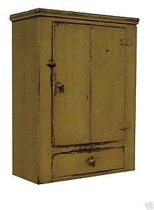 PRIMITIVE WALL CABINET CUPBOARD PAINTED COUNTRY EARLY AMERICAN