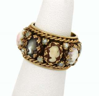 VINTAGE 14K GOLD HAND CARVED CAMEO ETERNITY BAND RING