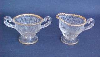 Cambridge Rose Point Individual Creamer Sugar Gold Trim