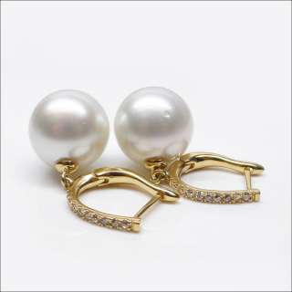 BEAUTIFULROUND WHITE 13.25MM NATURAL SOUTH SEA PEARL 14K GOLD