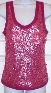 New $298 Magaschoni PINK sequin Cashmere top shirt S