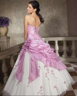 line/Lilac+white/wedding dress/Bride/Applique/lace up