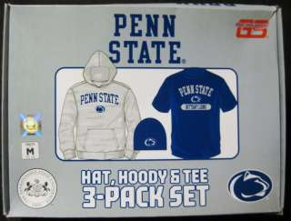 New Adidas Penn State Hoodie Knit Hat & Tee Shirt Gift Set #CLG07