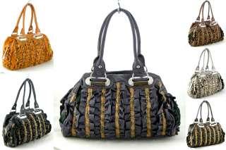 Designer Inspired SHIMMER RUFFLED Rhinestone Boston Satchel Bag