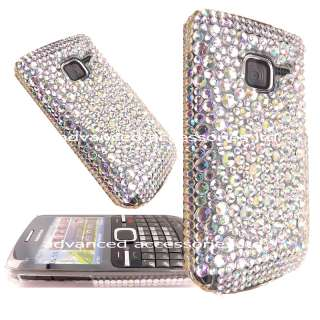 FOR NOKIA C3 CLEAR SHINEY CRYSTAL DIAMOND GEM HARD CASE DIAMANTE BLING