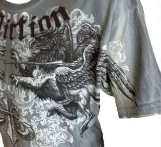 Affliction Andrei Arlovski The PitBull Griffin T shirt MMA Tee Blue