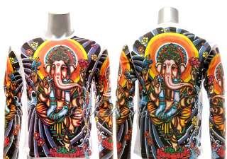 ls14 XL Ganesh Ganesha Hindu God Lord Elephant Tattoo LS T shirt Lotus