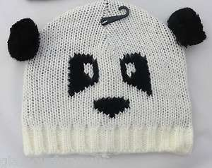 Ladies Girls Winter Woolly Animal Panda Bear Beanie Hat BARGAIN BN