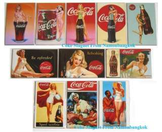 Lot 11 Vintage Coca Cola Coke Fridge Magnets~Sexy Girl