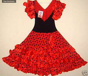 NEW SPANISH FLAMENCO DRESS, DANCE 5/7 YEARS RED BNWT