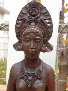 RARE Vintage Hand Sculptured Balinese Goddess