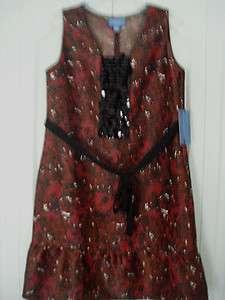 Simply Vera Wang Dress Medium Black Red Print Beaded Sleeveless Belt