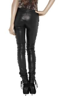 Amp up your new season look with Josephs black lace up leather pants.