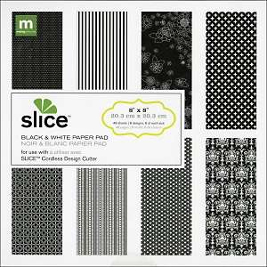 Slice 8L x 8W Cardstock Paper Pad   Black and White at HSN