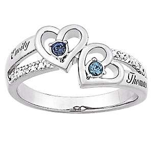 Sterling Silver Couples Heart Birthstone Color Crystal and Name