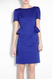 Moschino Cheap & Chic  Blue Peplum Frill Cotton Pencil Dress by
