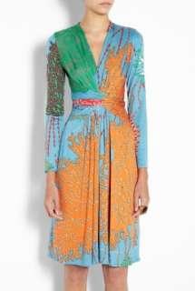 Issa  Multicoloured False Wrap Printed Silk Jersey Dress by Issa