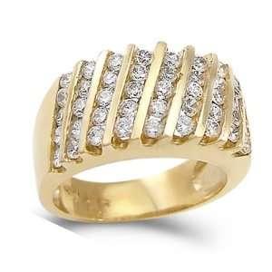 CZ Anniversary Band 14k Yellow Gold Bridal Wedding Ring (2.50 Carat