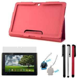 EveCase Hot Pink Leather Cover Case Folio with Built in Stand + LCD