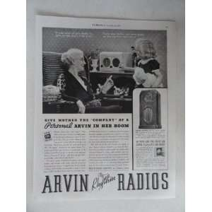 Arvin Rhythm Radios. Vintage 30s full page print ad. black and white