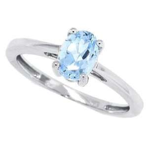 1.00ct Oval Aquamarine Ring in 14Kt White Gold 5