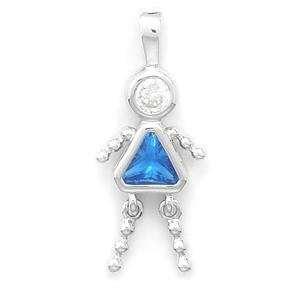 December Birthstone Girl Crystal Kids Charm Pendant Jewelry