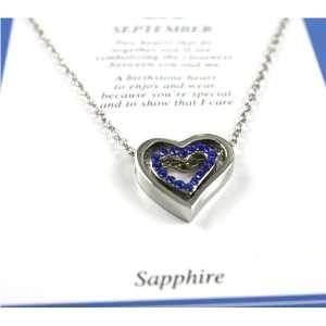 Beautiful Blue Sapphire Crystal Birthstone Double Heart