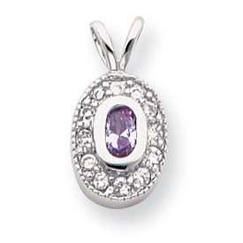 Rhodium plated June Birthstone Oval CZ Necklace   18 Inch   JewelryWeb