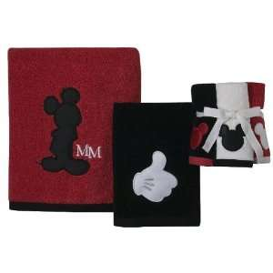 Disney Mickey Mouse 3pc Towel Set   Red/black/white