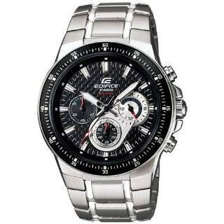 Mens EF552D 1AV Silver Stainless Steel Quartz Watch with Black Dial