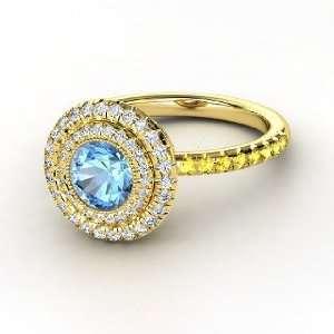 Round Blue Topaz 18K Yellow Gold Ring with Diamond & Yellow Sapphire