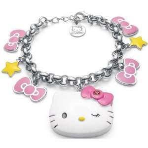 Hello Kitty Large White Face Bow Star Charm Bracelet