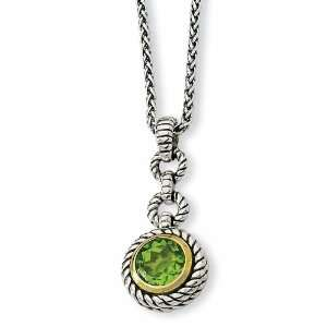 Sterling Silver w/Gold plated 1.91ct Peridot 18in Necklace Jewelry