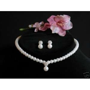 Pearl & Crystal Pave Necklace Earrings Jewelry Set