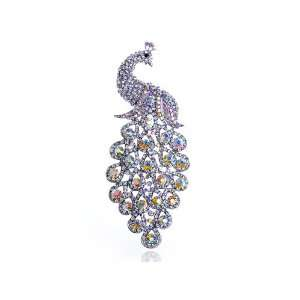 Elegant Peacock Tear Drop Tail Swarovski Crystal Rhinestone Pin Brooch