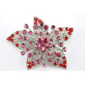 Pink Swarovski Crystal Star Brooch Pin