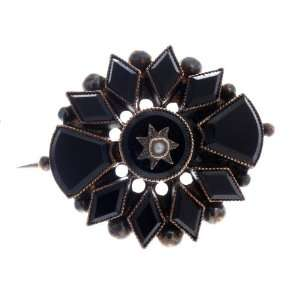 Estate Russian Rose Gold Onyx Pearl Brooch Pin Jewelry