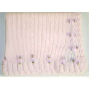 Crochet Infant Girls Baby Pink Cotton Blanket Trimmed with Carnations