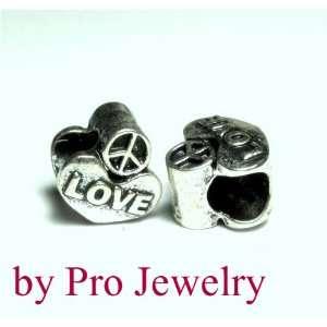 Silver Love Heart Peace Spacer Bead Fits Pandora Zable Chamilia