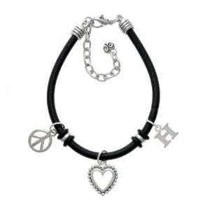 Small Silver Initial   H Black Peace Love Charm Bracelet