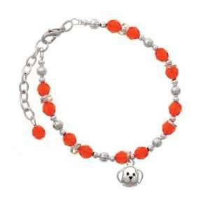 Small Outline Dog Face Orange Czech Glass Beaded Charm Bracelet